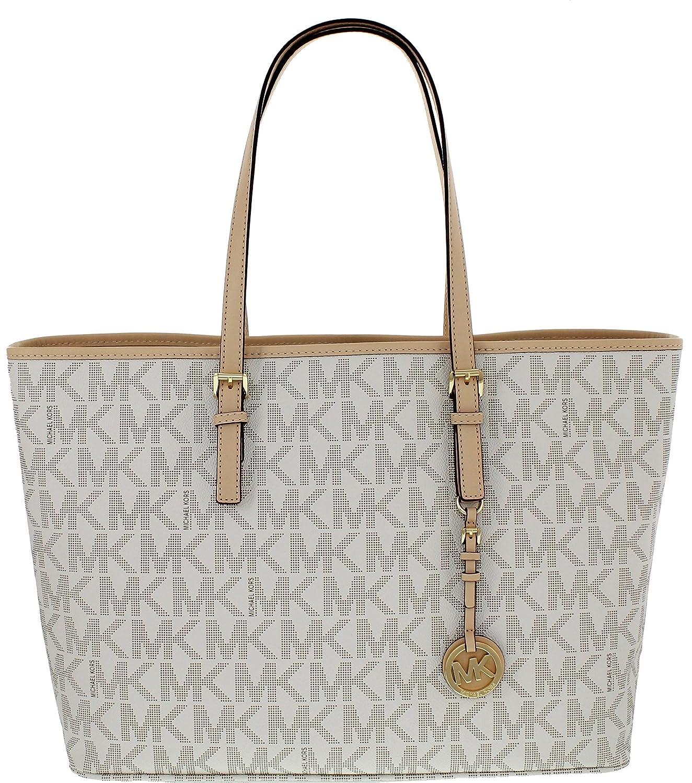 b593c883696ae0 ... spain michael kors jet set travel medium multifunction tote in mk  signature handbags amazon b12ef 55ac5