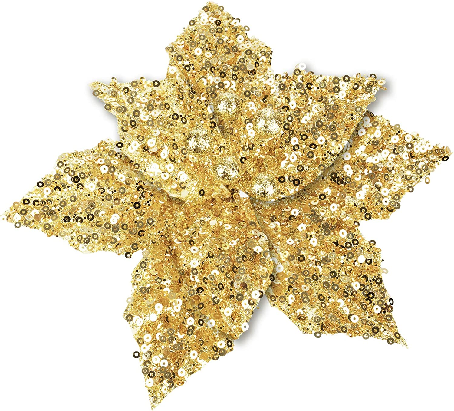 FUNARTY 12-Pack Glitter Poinsettia Christmas Tree Ornaments Artificial Christmas Flowers for Christmas Tree Wreaths Garland Holiday Decorations, 6.7-Inch (Gold)