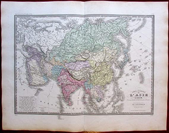 Map Of Asia Japan And China.Amazon Com Asia Arabia India China Russia Siam Japan 1875 Brue