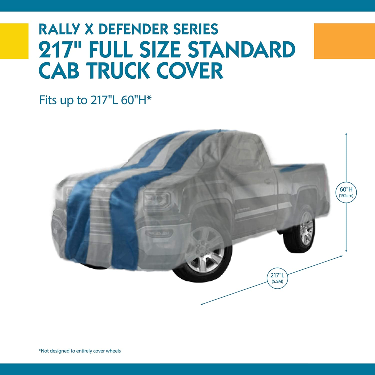 Duck Covers A4T210 Rally X Defender Grey with Navy Blue Rally Stripes 210L x 60W x 48H Pickup Truck Cover 1 Pack Fits Regular Cab Trucks up to 17 ft. 5 in. L