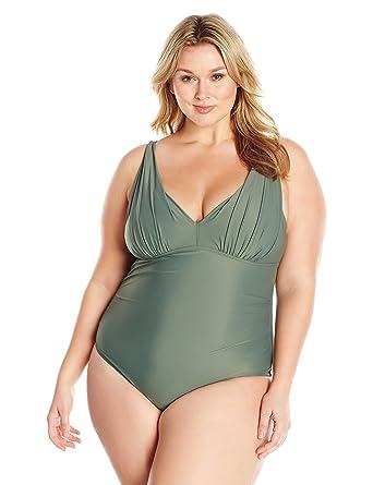 916a14874f Amazon.com  Coastal Blue Women s Plus Size Swimwear Shirred V-Neck One  Piece Swimsuit  Clothing
