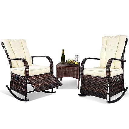 Amazon.com: Juego de muebles de jardín de mimbre de 3 piezas ...