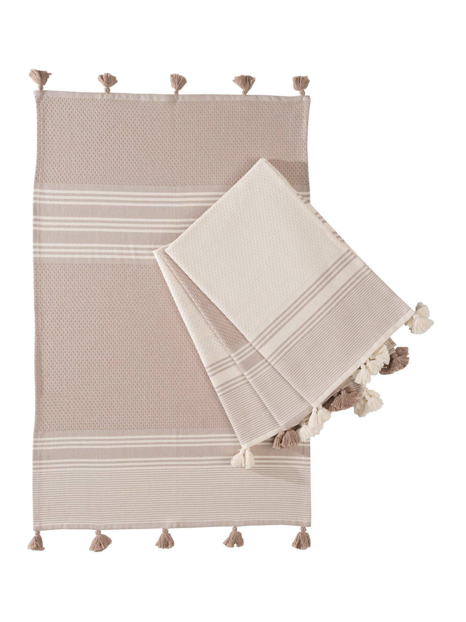 "Kuprum Turkish Cotton Hand Towels Set of 4 Decorative Striped Patterned Peshtemal Hammam Bath Kitchen Spa Pestemal Towels with Tassels Pom Pom (2 Beige, 2 Ivory Cream 20""x30"" Taupe Stone Neutral Sand)"