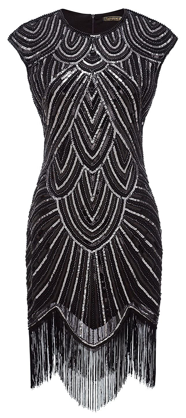 1920s Style Dresses, Flapper Dresses Izacu Flocc Women 1920s Art Deco Sequin Paisley Flapper Tassel Glam Party Dress £37.73 AT vintagedancer.com