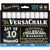 White Liquid Chalk Markers (10-pack) by VersaChalk - For Chalkboard Signs, Blackboards, Glass, Windows