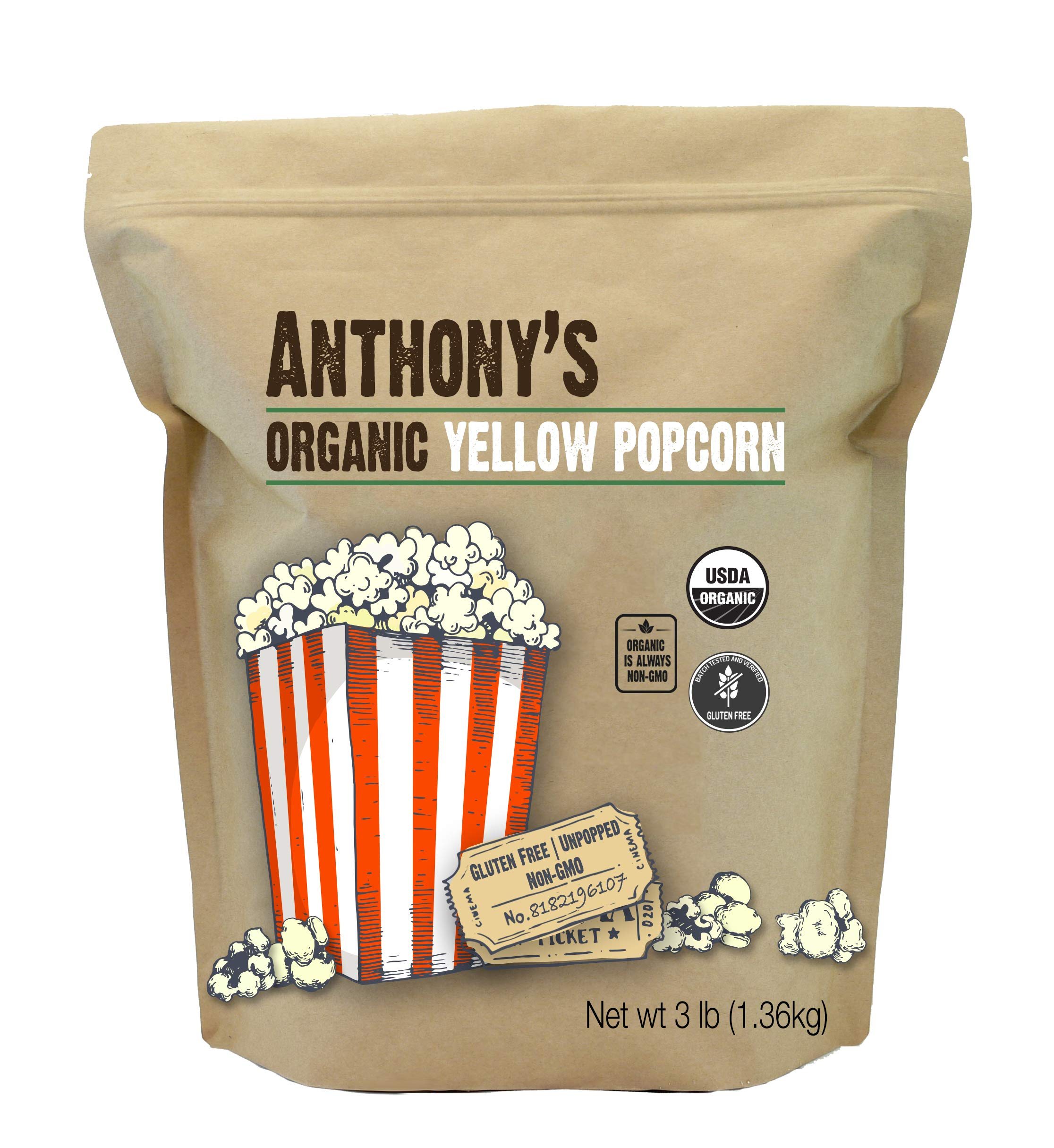 Anthony's Organic Yellow Popcorn Kernels, 3lbs, UnPopped, Gluten Free, Non GMO by Anthony's