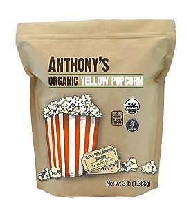 Anthony's Organic Yellow Popcorn Kernels, 3 lb, UnPopped, Gluten Free, Non GMO