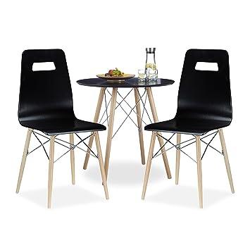 3 tlg Esszimmer Set ARVID, 2 Esszimmerstühle, Küchentisch rund ...