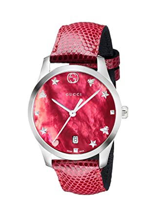 e81ea6598a8 Amazon.com  Gucci G-Timeless Mother of Pearl Dial Leather Strap Ladies Watch  YA1264041  Watches