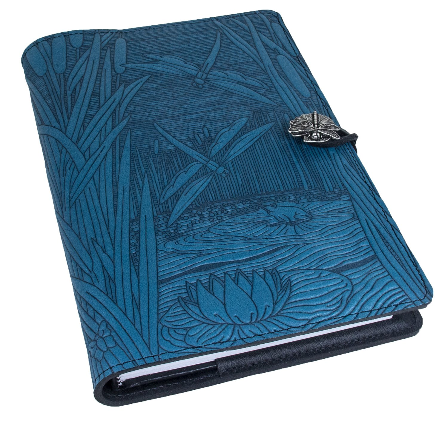 Genuine Leather Refillable Journal Cover + Hardbound Blank Insert - 6x9 Inches - Dragonfly Pond, Sky Blue With Pewter Button - Made in the USA by Oberon Design