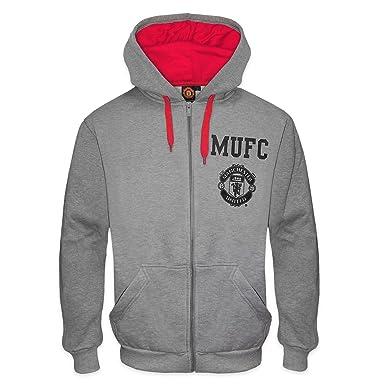 9e3d9511e48 Manchester United FC - Herren Fleece-Hoody mit Grafik-Print - Offizielles  Merchandise - Geschenk für Fußballfans - Grau   Rot - S  Amazon.de   Bekleidung