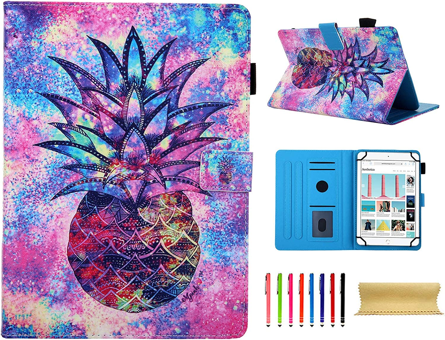 Universal 8 Inch Tablet Case, Techcircle PU Leather Multi Angle Stand Folio Wallet Cover with Pen Card Holder Protective Case for 7.5-8.5 Inch iPad Mini, Kindle, Windows Tablet, Color Pineapple