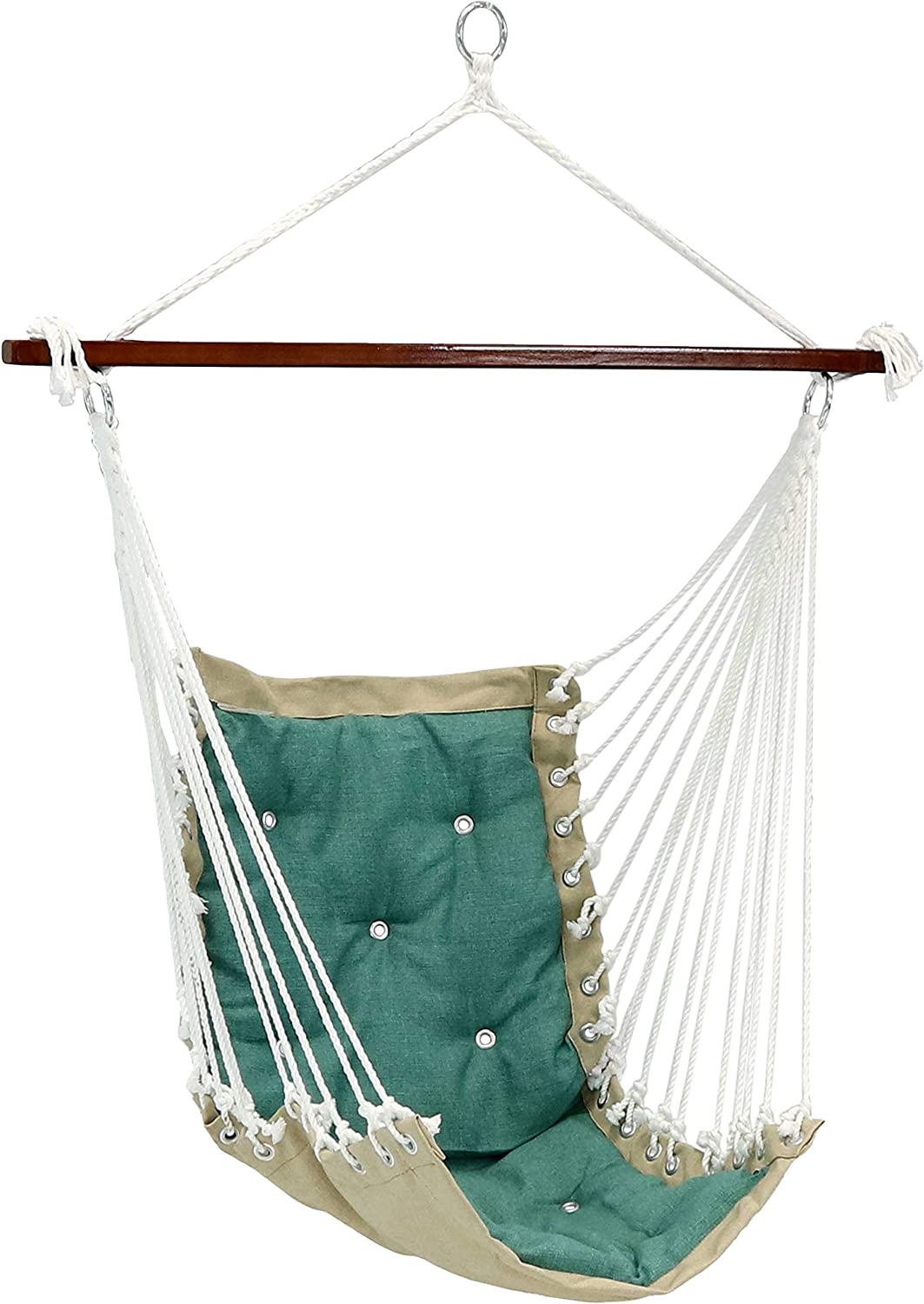 Sunnydaze Tufted Victorian Hammock Chair Swing, Indoor or Outdoor Hanging Seat, Sturdy 300 Pound Weight Capacity, Sea Grass
