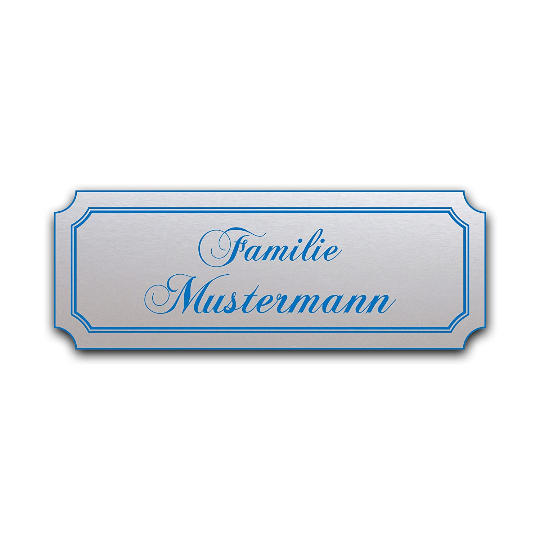 100mm breit Edelstahl//Gravur LAVICOM Briefkastenschild T/ürschild Haust/ürschild Klingelschild Pokalschild Hausschild Gravur blau Modell 02