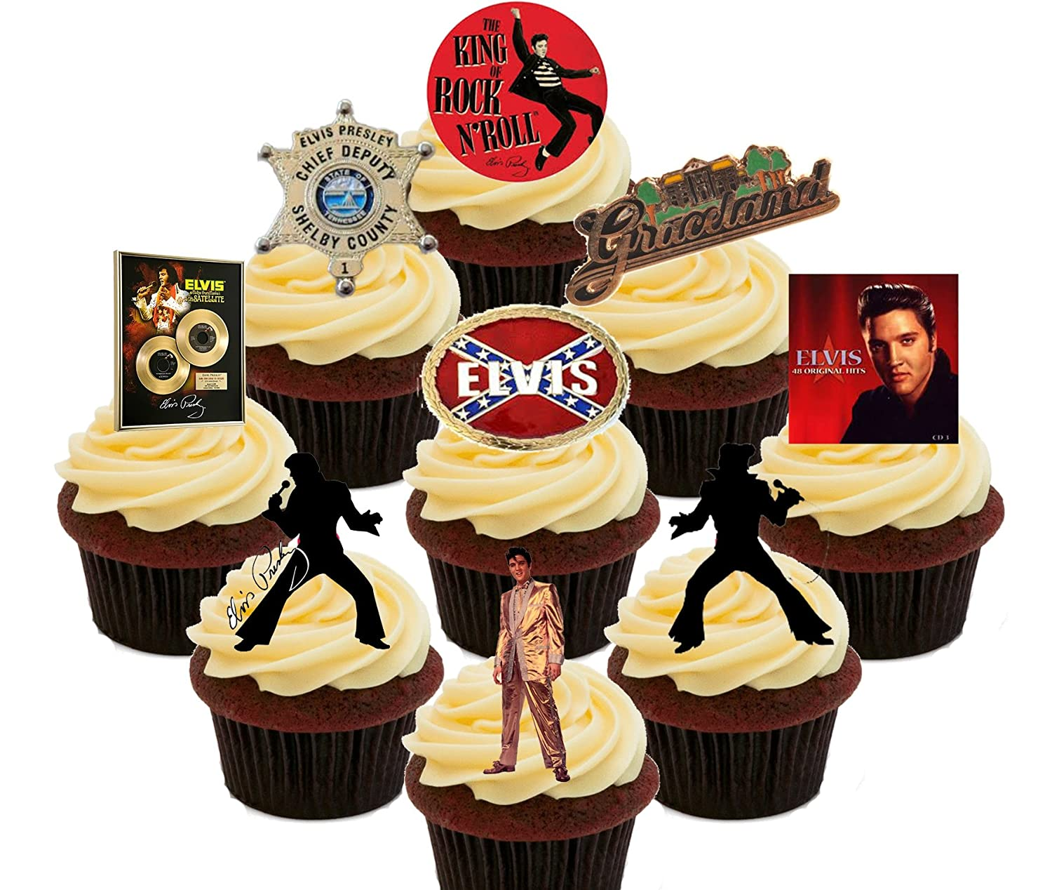 Elvis Presley Party Pack, Edible Cupcake Toppers - Stand-up Wafer ...
