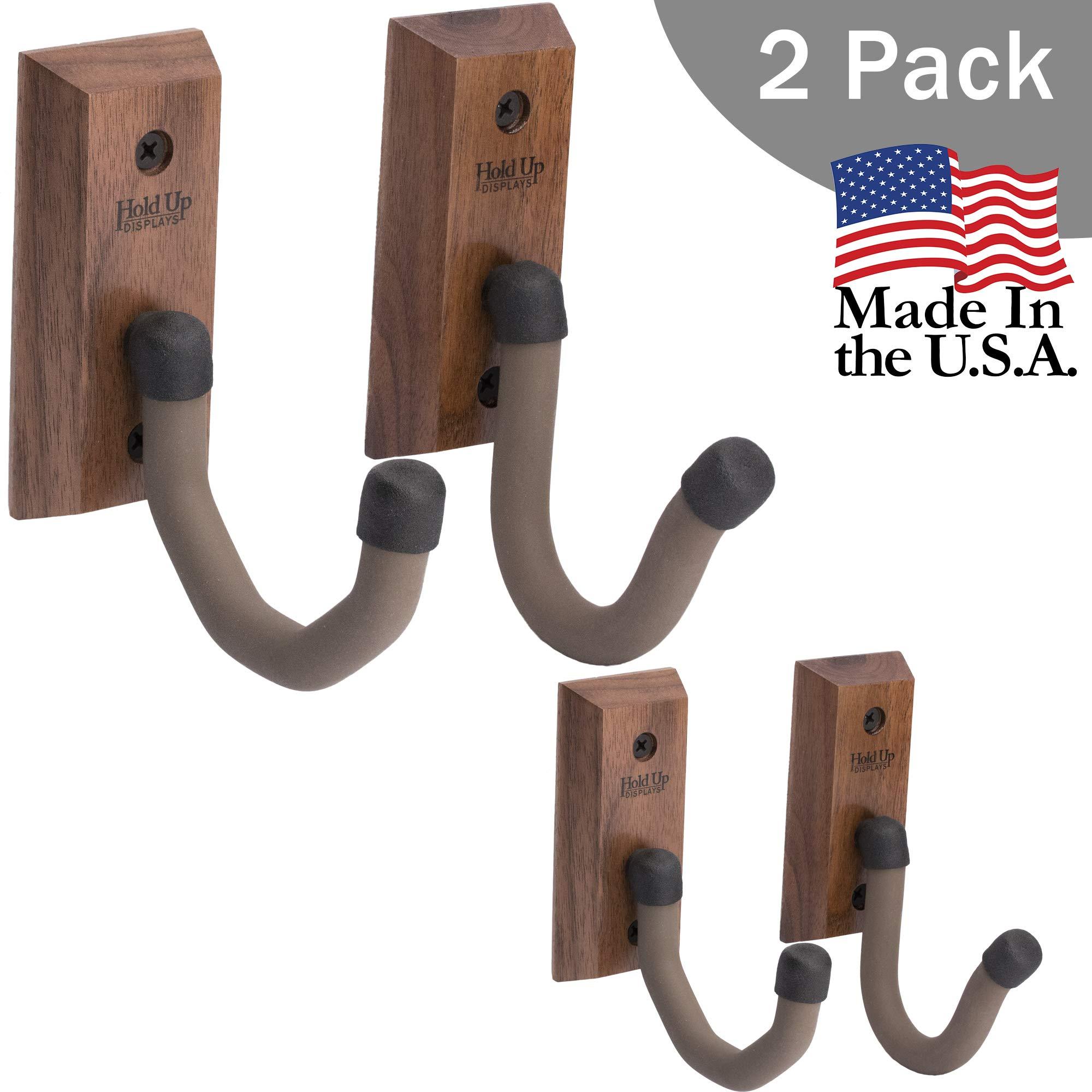Hold Up Displays - Horizontal Gun Rack Hooks Hanger Storage for Any Rifle Shotgun Bow - USA Made - Black Walnut 2-Pack by Hold Up Displays