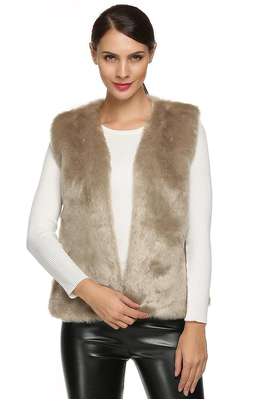 ACEVOG Lady Faux Fur Vest Waistcoat Winter Warm Sleeveless Coat Outwear
