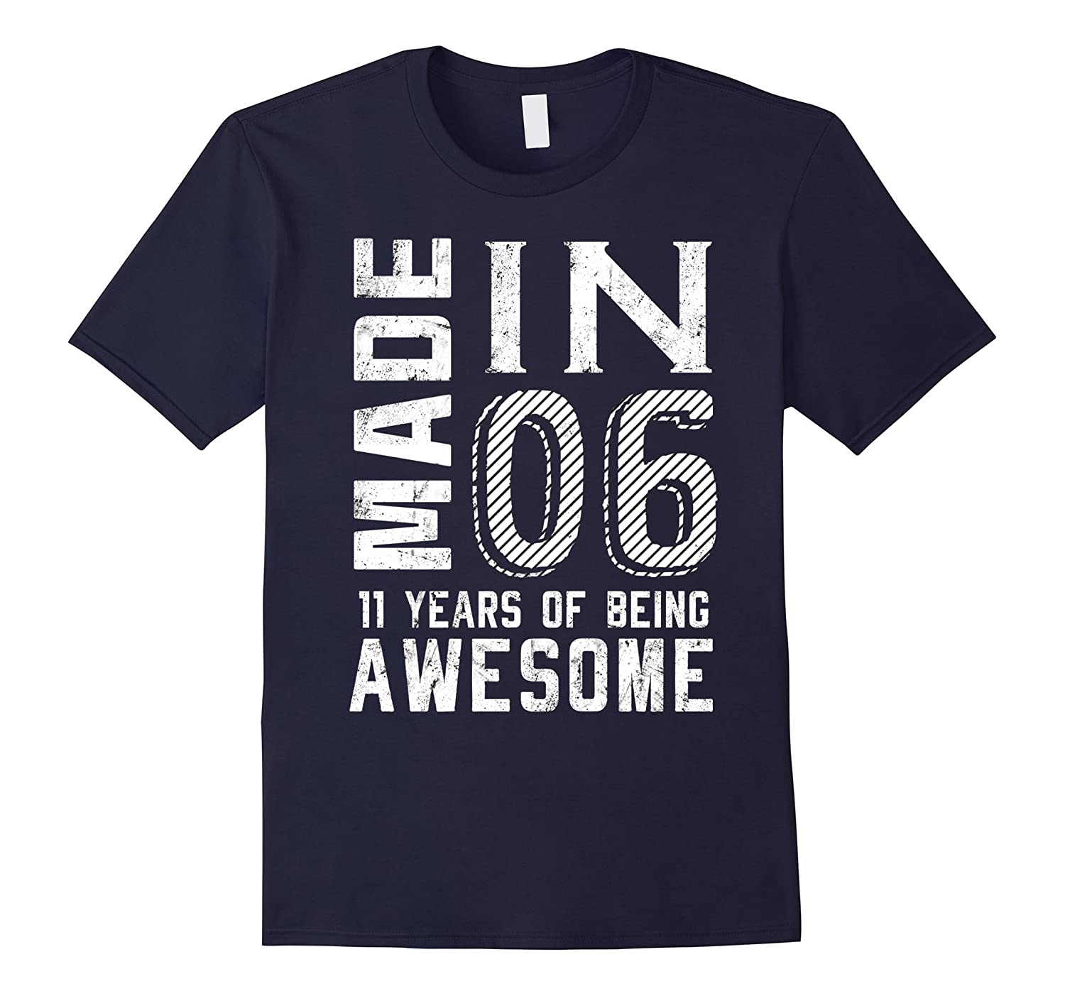 11th Birthday Shirt Made In 06 11 Years Of Being Awesome-Rose