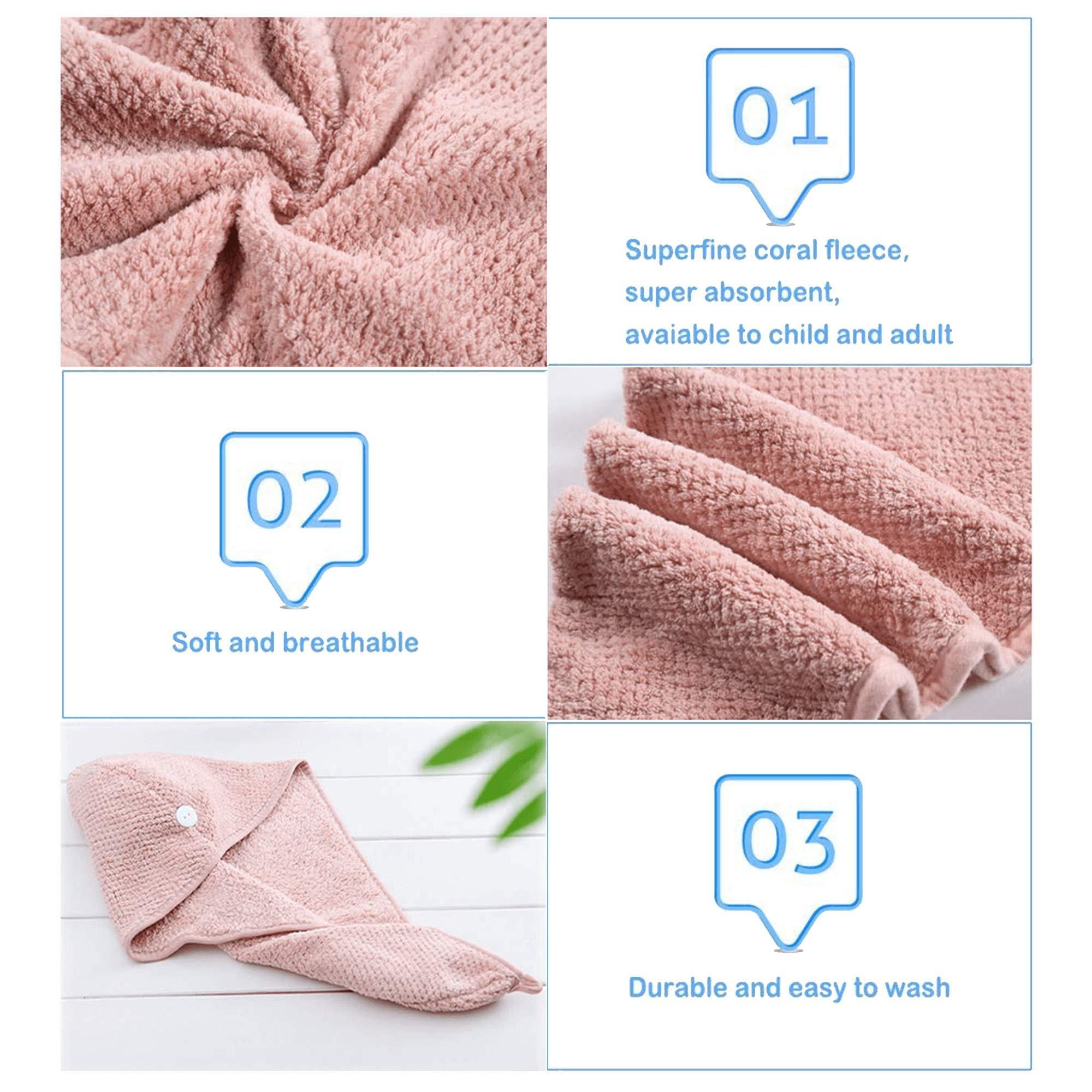 MAIYAMI 2 Pack Hair Drying Towels Cap,Hair Wrap Towels, Ultra Abosobent Microfiber Hair Turban Towel,Button Lightweight Design Quick Magic Dryer, Dry Hair Hat (Pink&Beige)