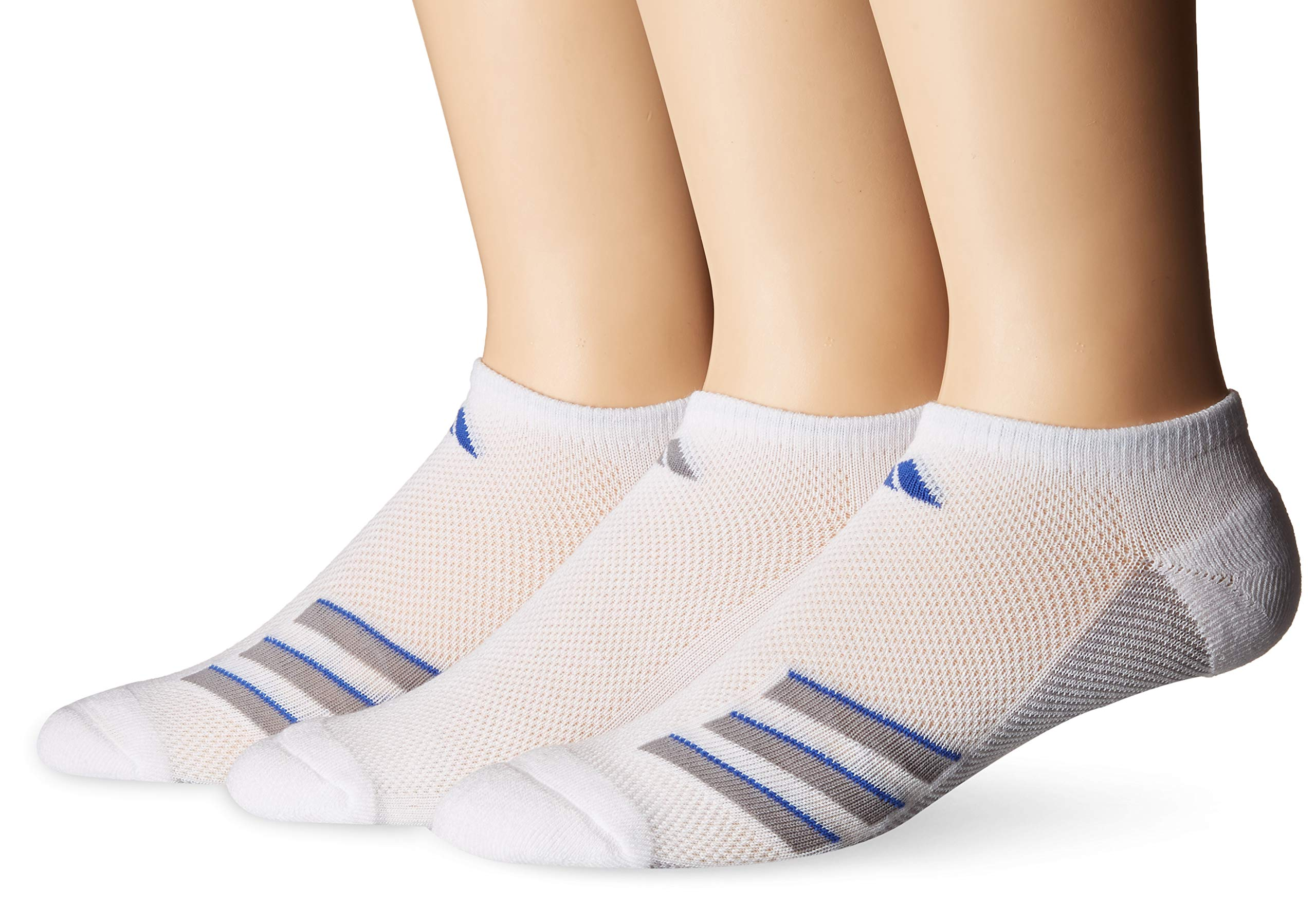 adidas Men's Climacool Superlite No Show Socks (3-Pack), White/Light Onix/Blue, Size 6-12