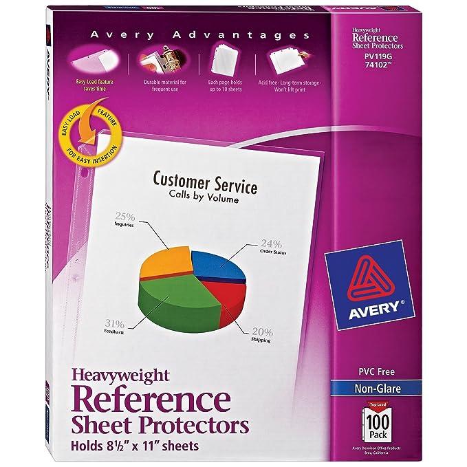 amazon com avery heavyweight non glare sheet protectors 8 5 x 11