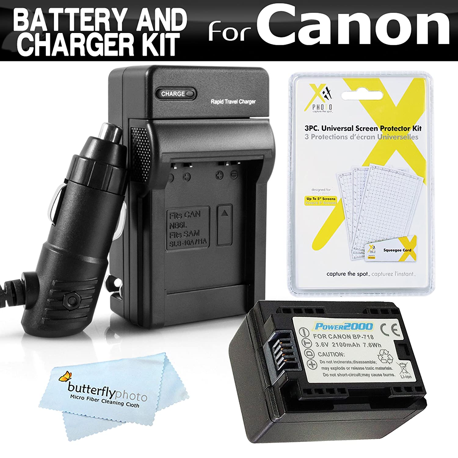 Amazon com battery and charger kit for canon vixia hf r82 hf r80 hf r800 hf r62 hf r60 hf r600 hf r700 hf r72 hf r70 camcorder includes