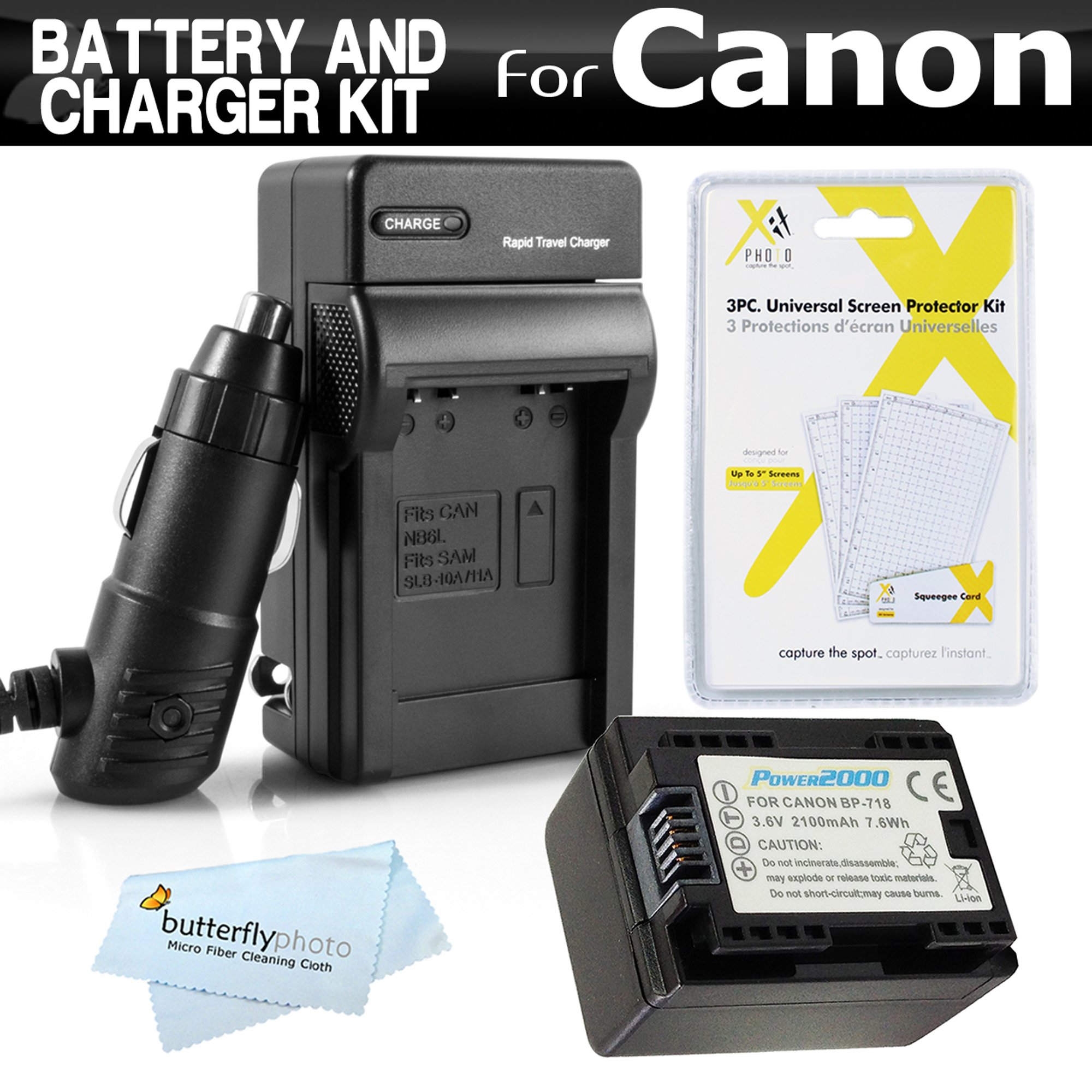 Battery And Charger Kit For Canon VIXIA HF R82, HF R80, HF R800, HF R62, HF R60, HF R600, HF R700, HF R72, HF R70 Camcorder Includes Replacement BP-718 Battery + Charger (Replaces Canon BP-709,BP-718) by ButterflyPhoto