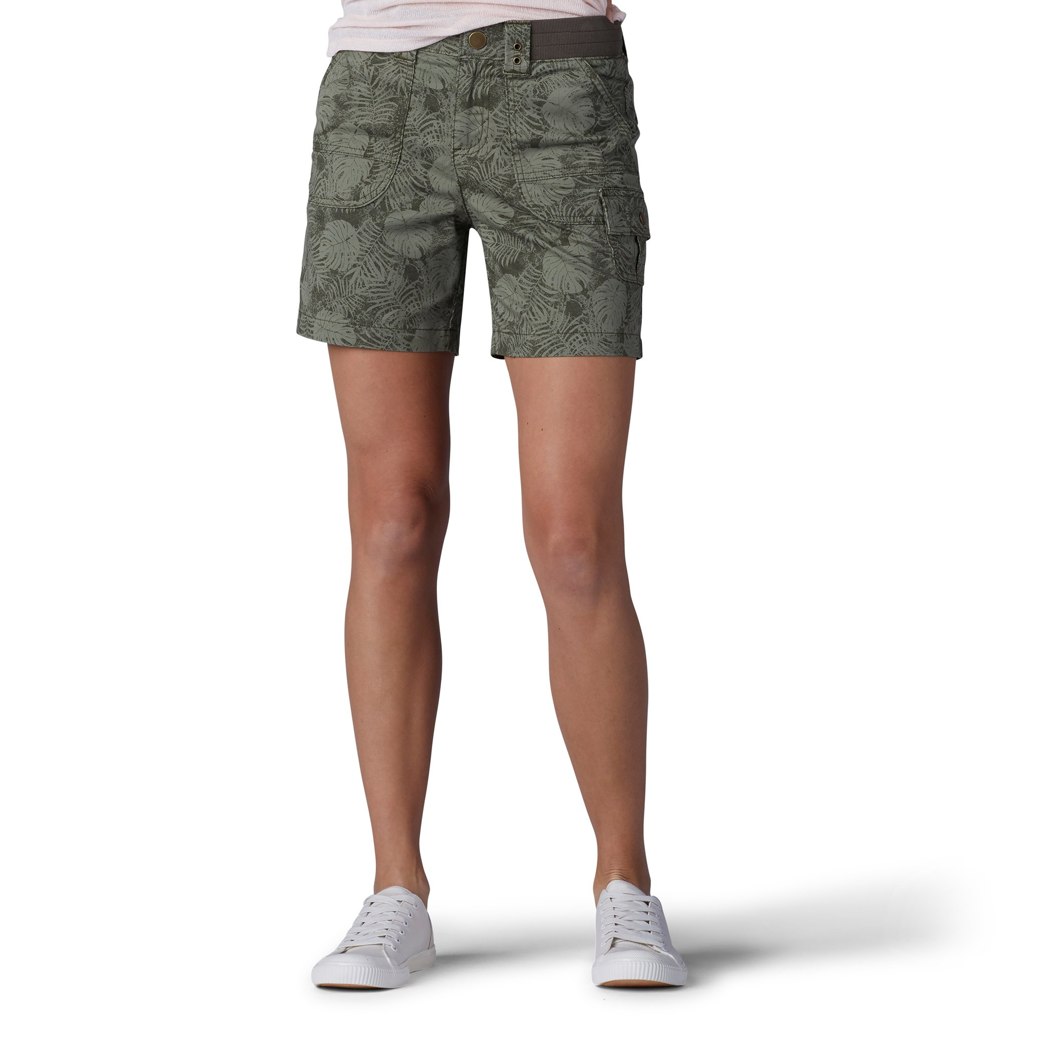 LEE Women's Relaxed Fit Myra Short, Moss Faded Palm, 8