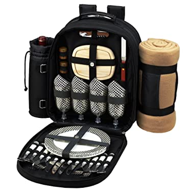 Picnic at Ascot Original Equipped 4 Person Picnic Backpack with Cooler, Insulated Wine Holder & Blanket - Designed & Assembled in the USA