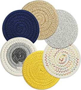 """CoastersforDrinks Absorbent Set of 6,Round Woven Drink Coasters Braided Coffee Cloth Coasters,Cup Mat Pad,Super Absorbent Coasters for Wooden Table,Housewarming Gift(4.52"""" Diameter,0.32"""" Thick)"""