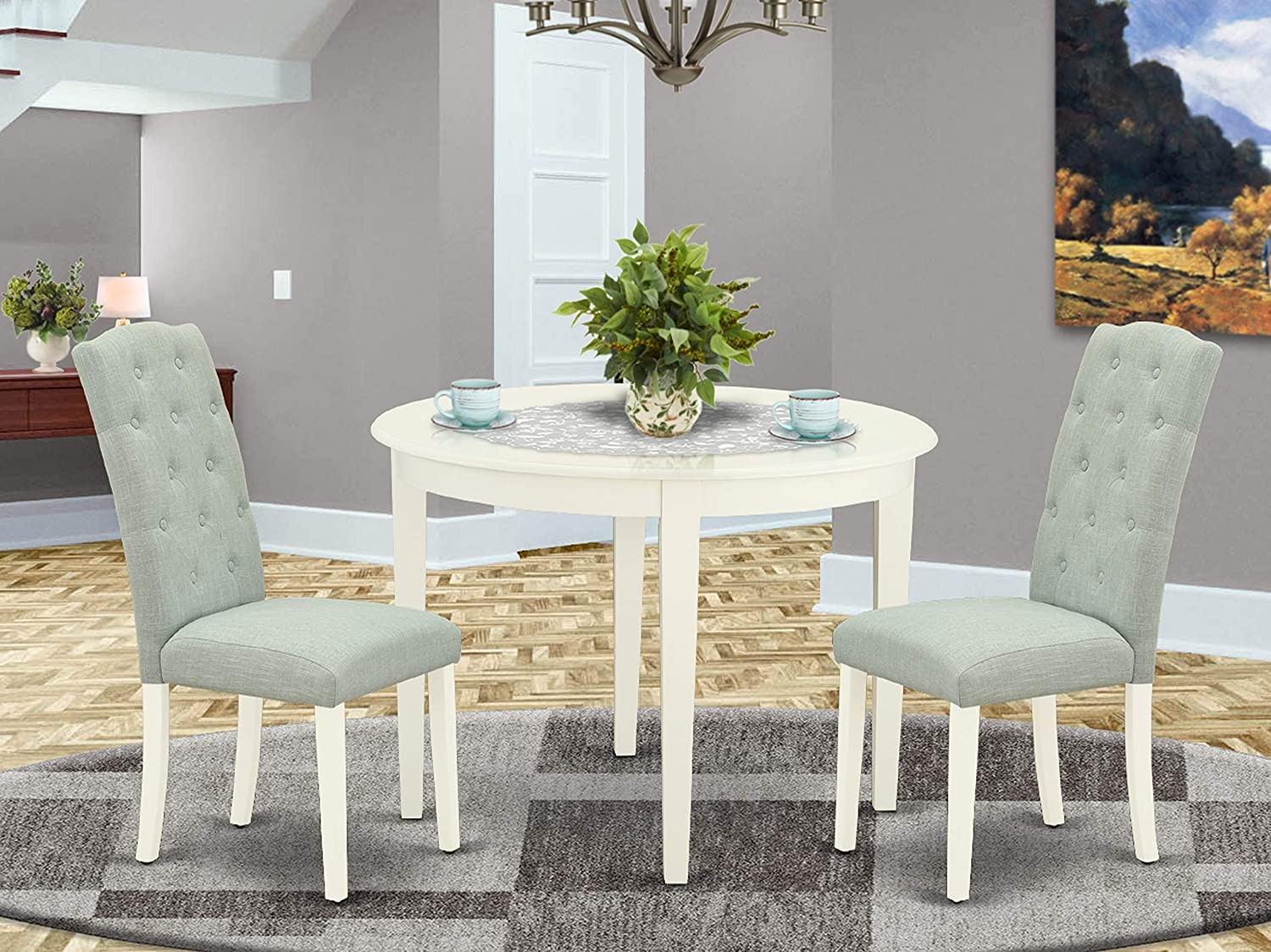 Amazon Com East West Furniture Round Dining Table Set 3 Pieces Baby Blue Linen Fabric Button Tufted Dining Chairs White Finish 4 Legs Solid Wood Round Dining Table And Structure Furniture Decor