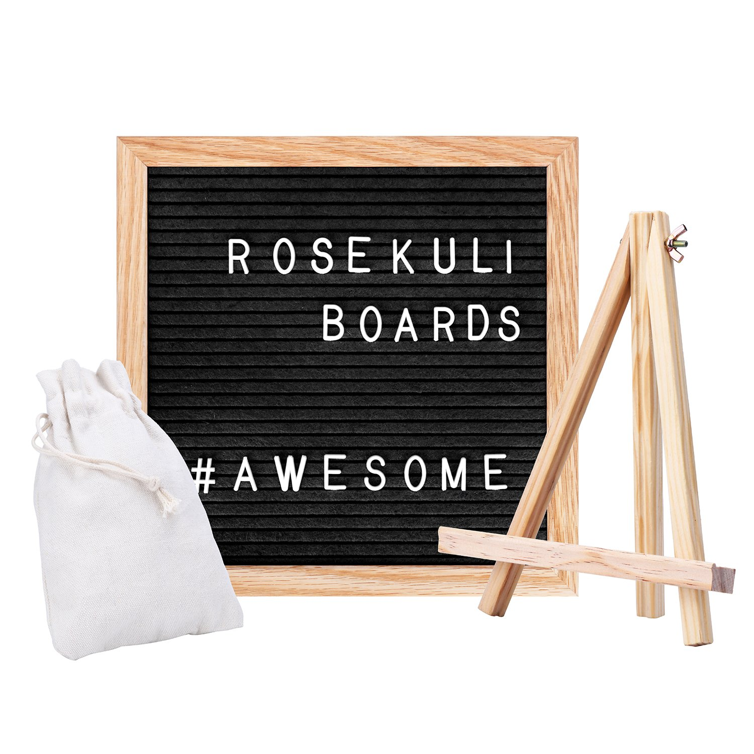 ROSE KULI Changeable Felt Letter Board - 10x10 Inch Wooden Message Board Includes Sign Numbers Symbols Emojis with Solid Oak Frame Free Stand Scissor Canvas Bag