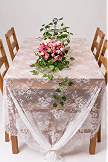 crisky 60x120 classic white lace tablecloths for weddings rose vintage embroidered lace