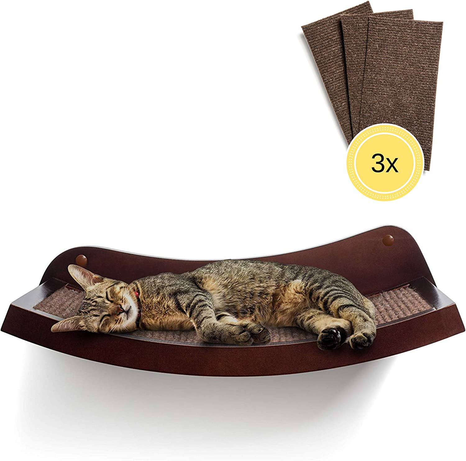 "HumaneGoods 19"" Deluxe Cat Wall Shelf - Wall-Mounted, Floating Perch with 3X Replaceable Scratch Pads for Adult Cats"