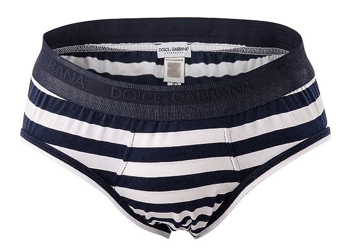 Dolce & Gabbana Hombres Slip, carta Midi algodón elástico, rayas - Azul/Blanc