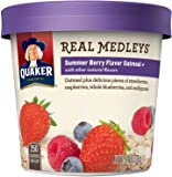 Quaker Real Medleys Oatmeal+, Summer Berry, Instant Oatmeal+ Breakfast Cereal, 2.64oz Cup