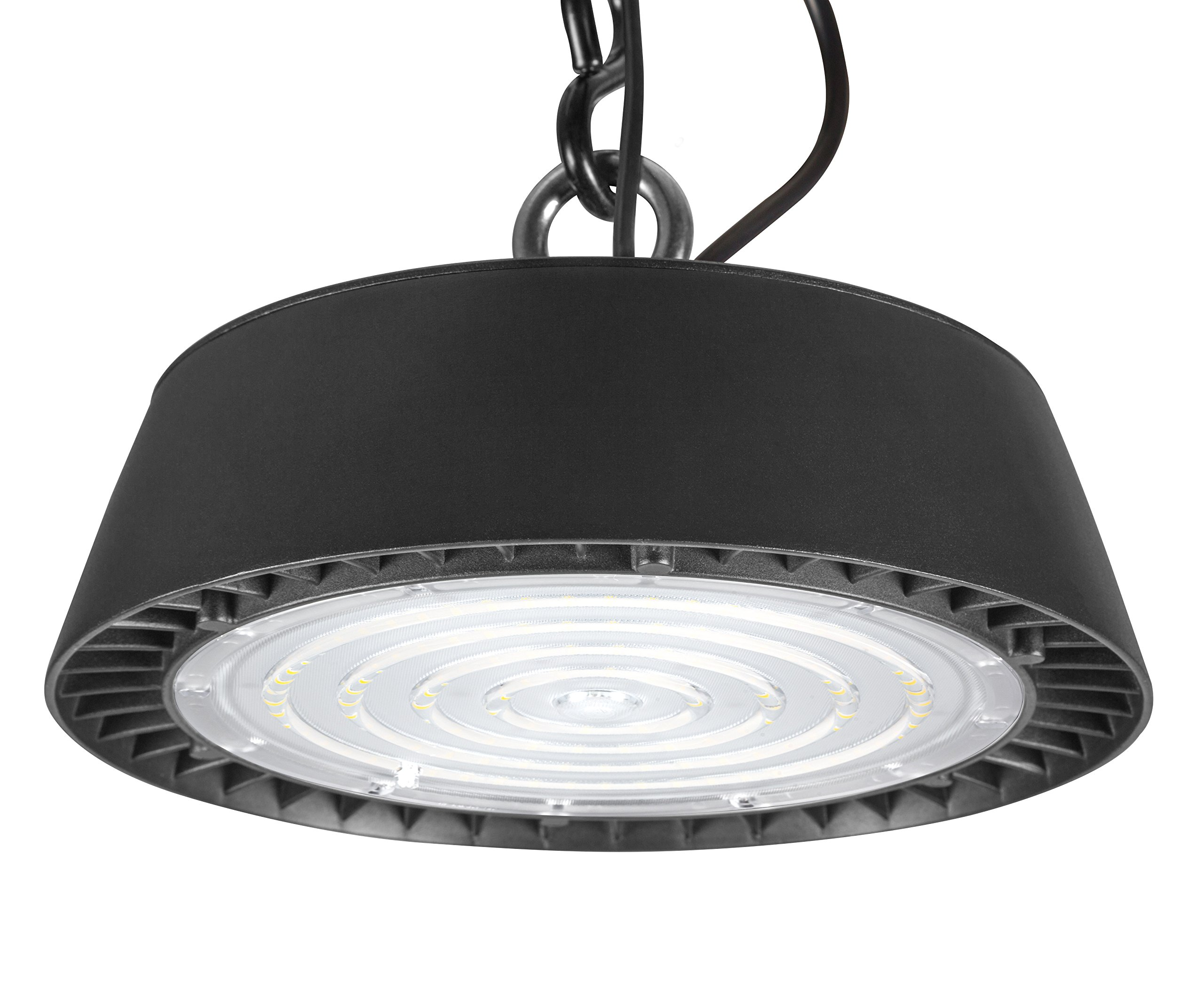 Hyperikon UFO LED High Bay Light 100W, 14000 Lumens, Sleek Super Bright Commercial Bay Lighting with Fresnel Lens, Dimmable, 5700k, Waterproof IP65 Rating, UL Listed