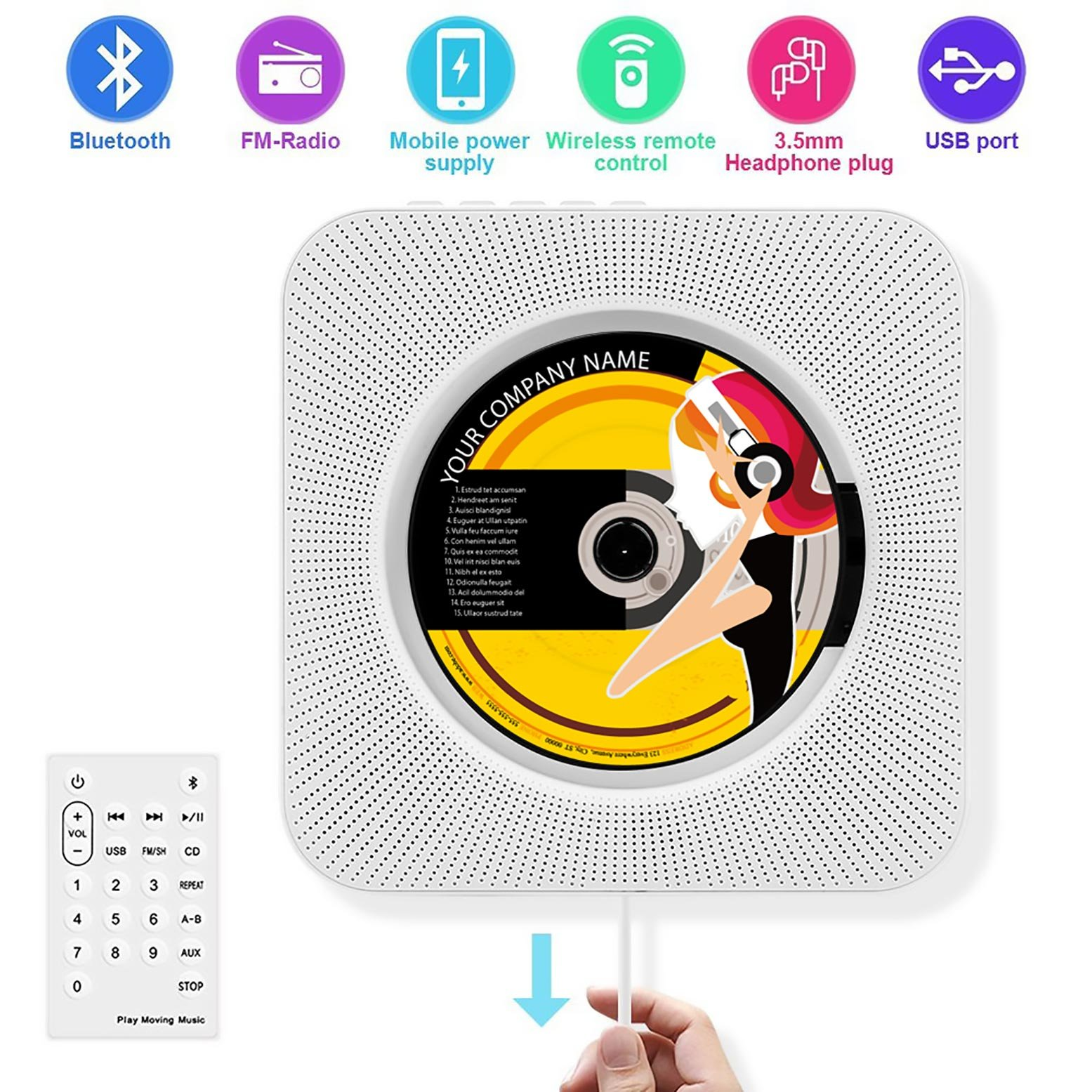 Wall CD Player with Bluetooth, Portable Wall Mountable, Remote Control, FM Radio, HiFi Speaker, Supports USB, Earphones and Phone