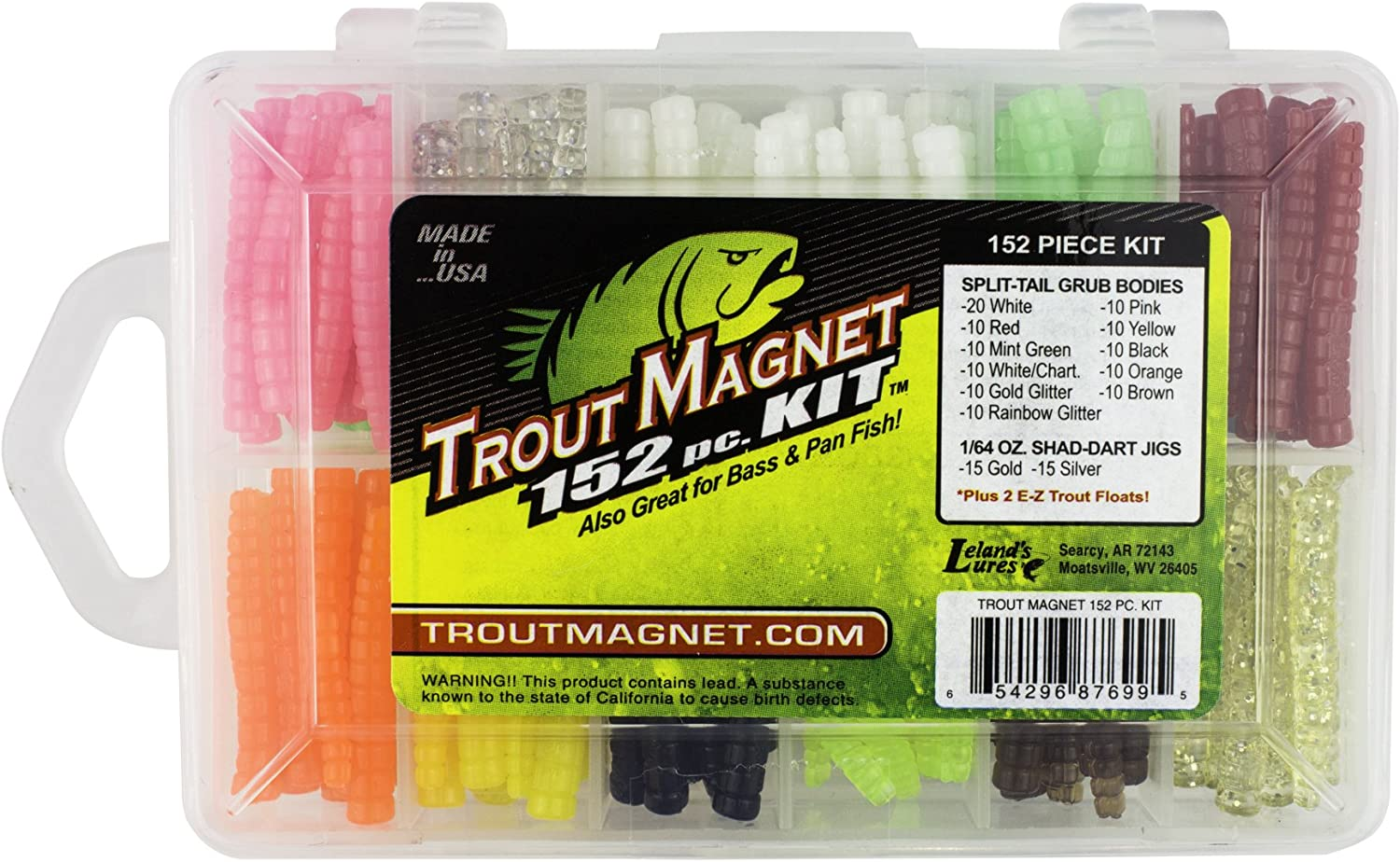 100 Crappie Magnet Split Tail Bodies Chartreuse Glitter /& Red//Chartreuse CRAPPIE