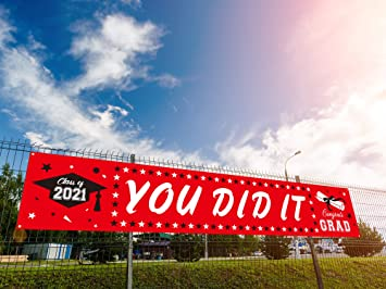 Dazonge Large You Did It Banner for Graduation Decorations 2021 - Red Graduation Banner Backdrop 19.7x118 Inches - Graduation Party Supplies for Any Schools or Grades