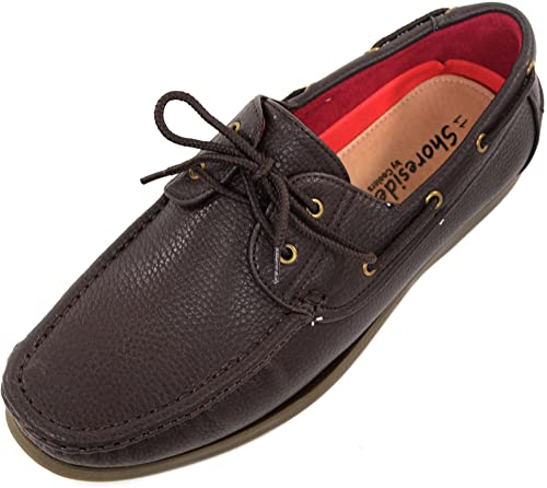 Genuine Mens Leather Yachtsman Lace Up Boat Loafers Formal Moccasin Sailing Deck Shoes Sizes 7 to 12