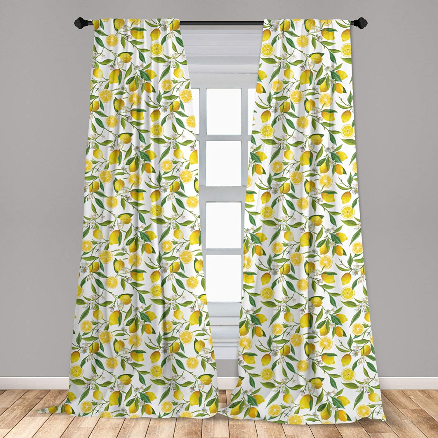 """Ambesonne Nature 2 Panel Curtain Set, Exotic Lemon Tree Branches Yummy Delicious Kitchen Gardening Design, Lightweight Window Treatment Living Room Bedroom Decor, 56"""" x 84"""", Fern Green"""