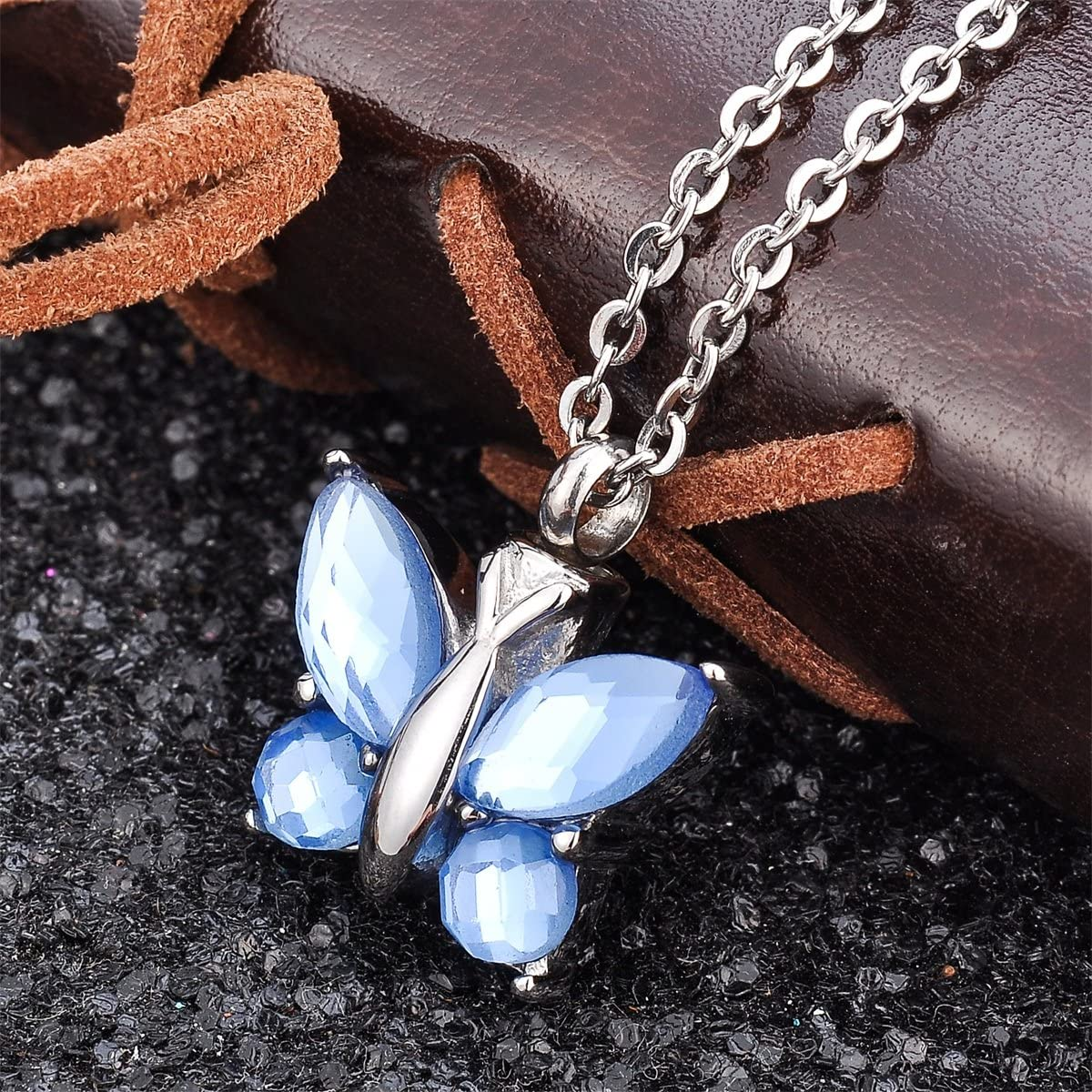 Valyria Cremation Jewelry Flying Butterfly Urn Pendant Keepsake Memorial Necklace