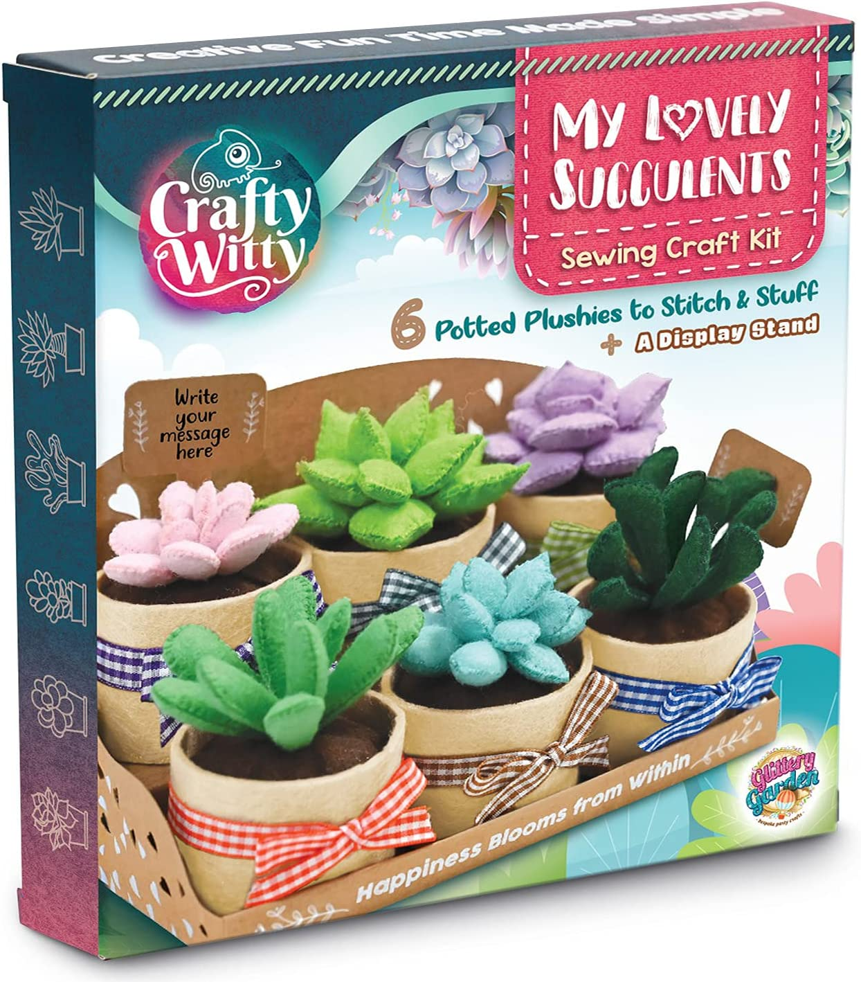 Felt Succulents Craft Kit. Make 6 Potted Colorful Plushies & A Display Rack. Mini Garden DIY Sewing Project, Activity Set, Arts & Crafts Supplies - Great Gift for Teens and Adults