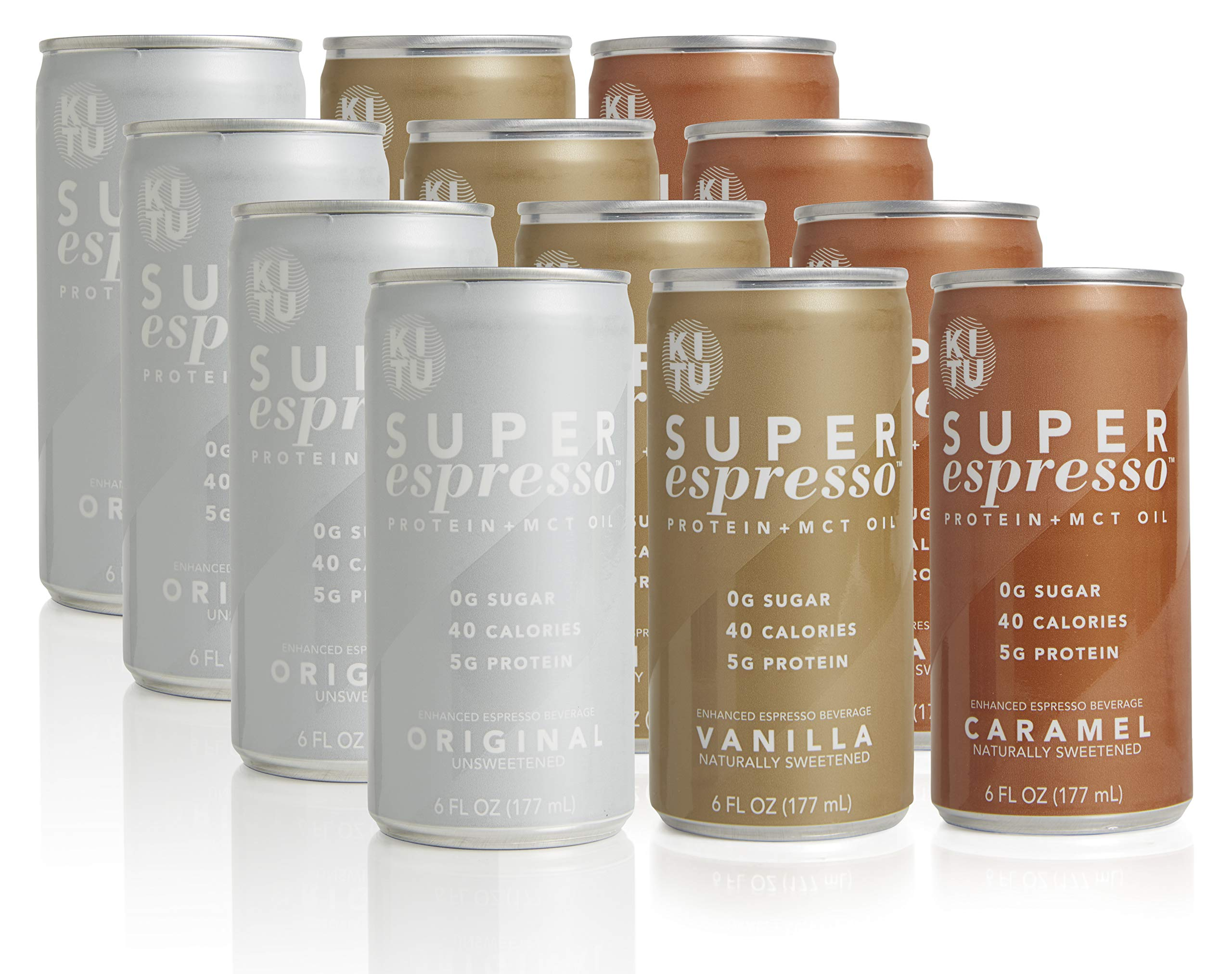 Kitu by SUNNIVA Super Espresso 12-Pack Variety with Protein and MCT Oil, Keto Approved, 0g Sugar, 5g Protein, 40 Calories, 6 fl. oz (4 Each of Original, Vanilla, and Caramel)