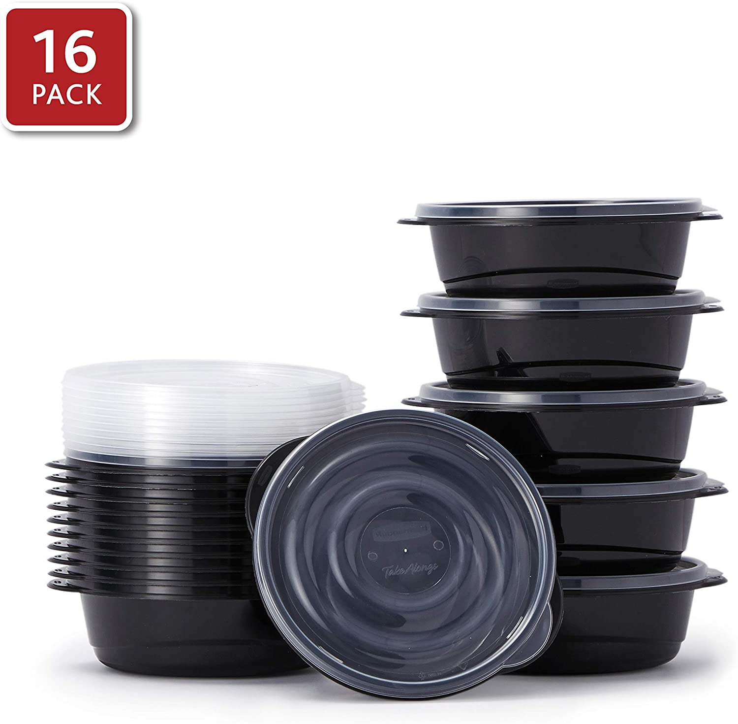 Rubbermaid 2108372 TakeAlongs Food Storage Single Base, 5 Cup, Set of 16 (32 Pieces Total) | Meal Prep Containers, Lunch for Adults & Kids, 16-Pack, Black