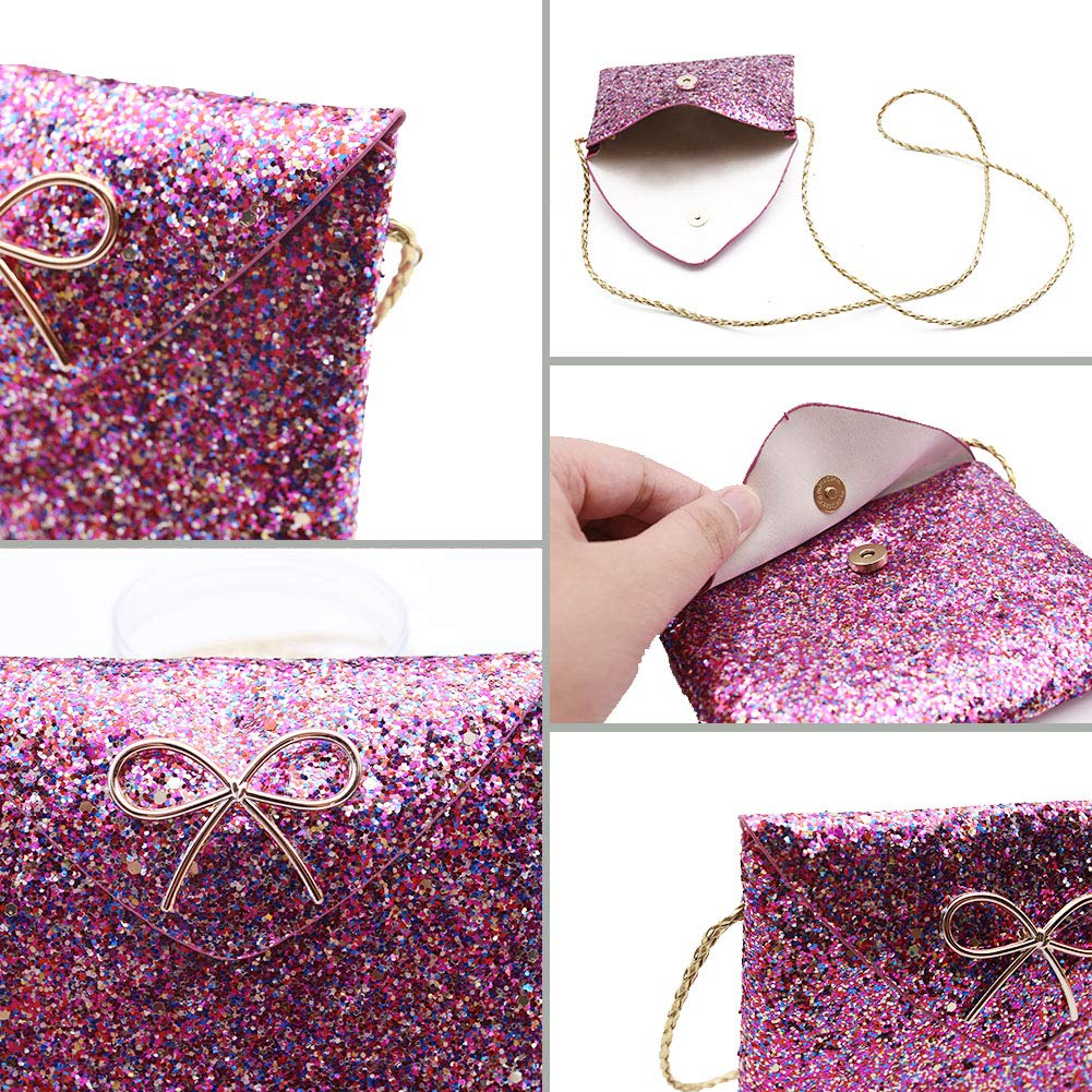 VGoodall Little Girl Crossbody Bag,Glitter Crossbody Purse Messenger Bag Hand Bag Toddler Kids Purse with Sparkly Crown Hair Clip,Pink and Purple
