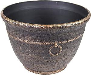 Banded High Density Resin Hose Pot w/ Drain Garden Holder Storage, Antique Bronze