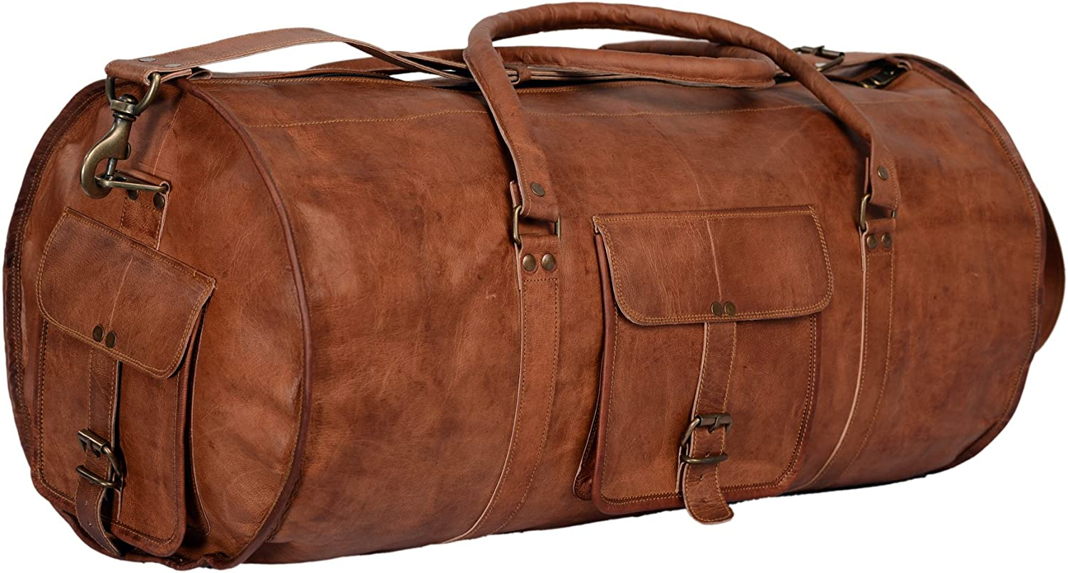 "22/"" Leather Genuine Travel Bag Duffle Gym Men Vintage Luggage Overnight Weekend"