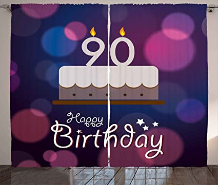 Ambesonne 90th Birthday Decorations Curtains Dreamy Layout With Color Spots Artistic Graphic Cake Design